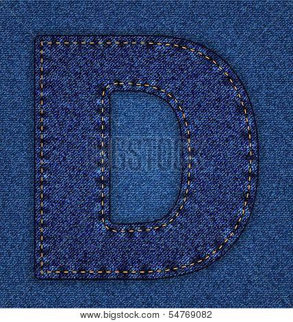 Jeans alphabet letter D
