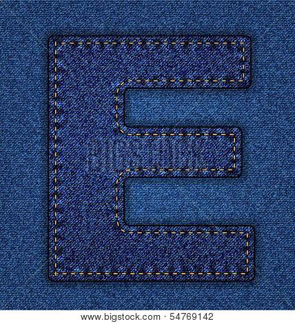 Jeans alphabet letter E
