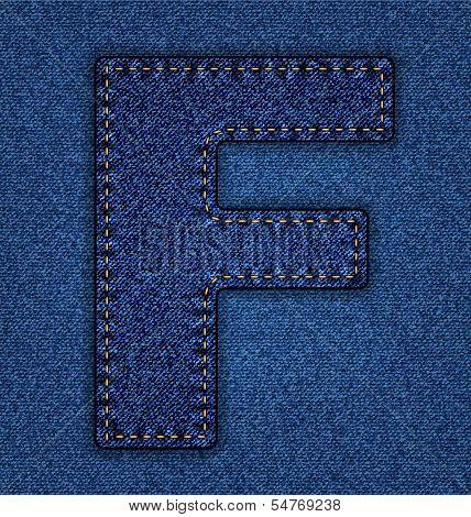 Jeans alphabet letter F
