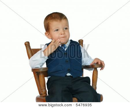 Baby Businessman Is Deep In Thought