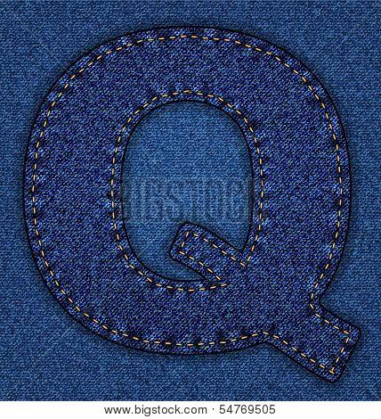 Jeans alphabet letter Q