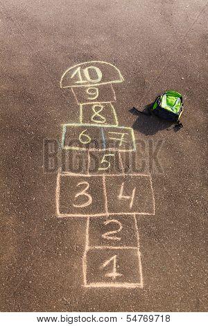 Hopscotch Game Drawn On The Asphalt