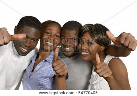 Four African Friends Showing Thumbs Up