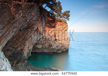 Coastal Rocks With Pine Trees Growing On It. Adriatic Sea, Montenegro