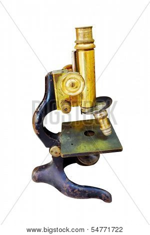 old-fashion microscope isolated under the white background