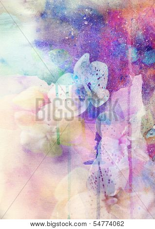 Abstract floral background- watercolor grunge texture