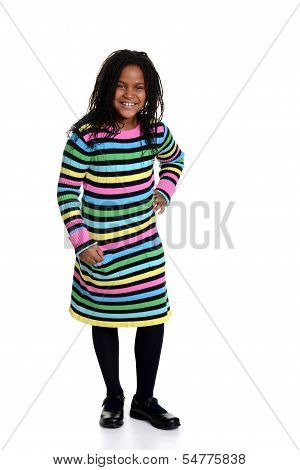 little black girl wearing colorful dress