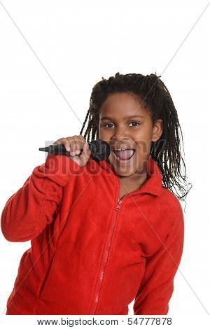 young jamaican girl with microphone