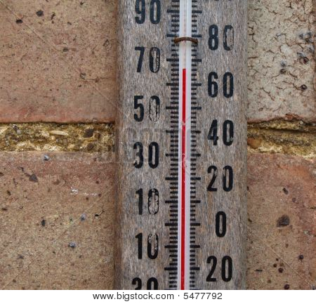 Mercurty Thermometer On Wall