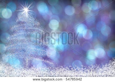 Beautiful Christmas Tree Snow Background Blue Purple