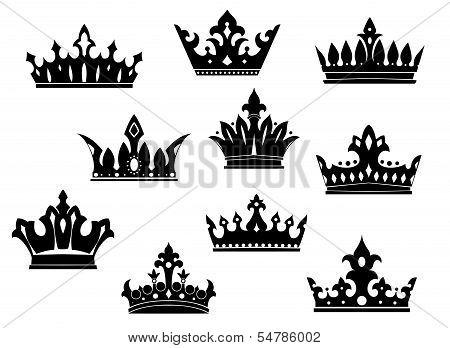 Black Heraldic Crowns Set