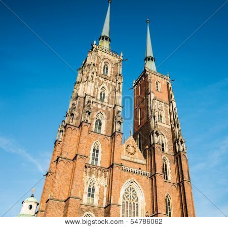 WROCLAW, POLAND - AUGUST 23: Cathedral of St. John the Baptist, The building was built in the Gothic style and is the first Gothic church in Poland on August 23, 2013 in Wroclaw, Poland