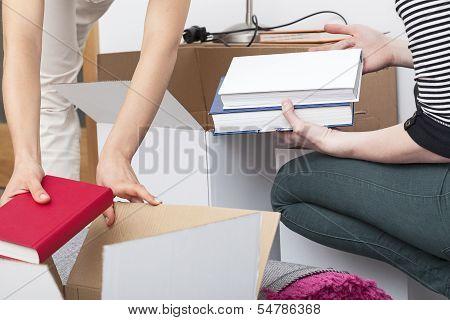 Books Packing Closeup