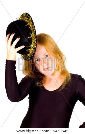 Girl Is Wearing A Black Hat With Golden Streamer