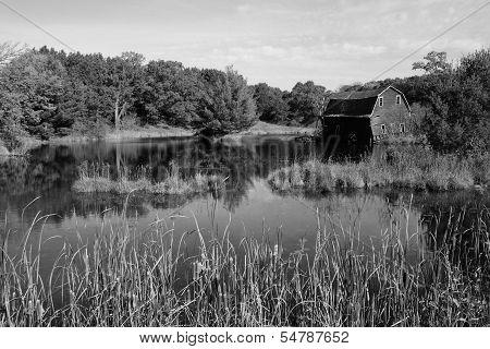 Rural barn near pond