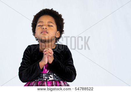 Praying African American Girl