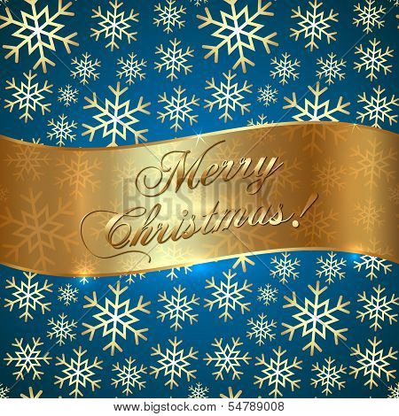 Vector Blue Background with Snowflakes and Greeting Golden Ribbon