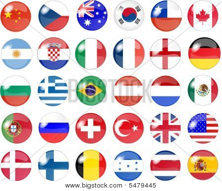 Big set of national flag buttons