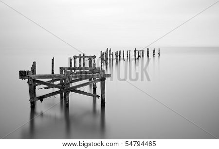 Fine Art Landscape Image Of Derelict Pier In Milky Long Exposure Seascape
