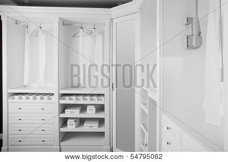 Nice Interior Of Wooden Wardrobe