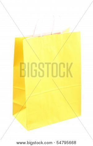 Shopping Yellow Gift Bags And Apple Isolated