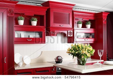 Modern Red Kitchen With Stylish Furniture