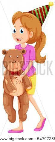 Illustration of a lady holding a bear on a white background