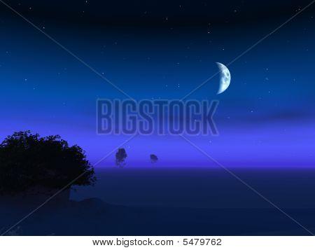 Moon On Horizon Dusk
