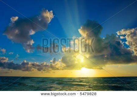 Sunrise over Atlantic ocean coast FL USA