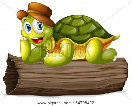 Illustration of a turtle above a log on a white background