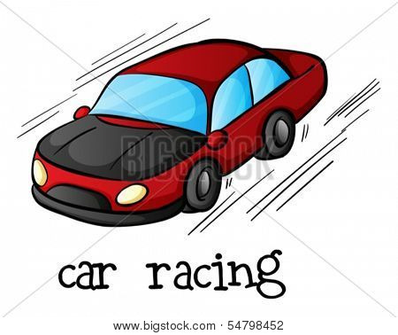 Illustration of a car racing on a white background