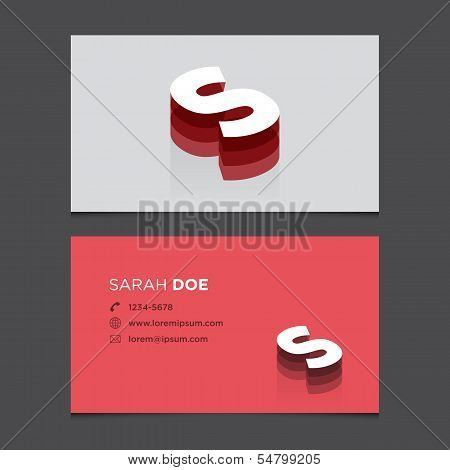 Business card letter s