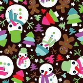 Seamless white snowman and ginger bread friends christmas illustration background pattern in vector
