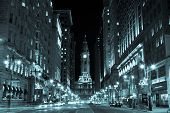 image of freedom tower  - Philadelphia city hall by night Pennsylvania USA - JPG