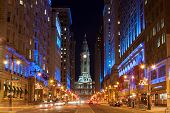 stock photo of city hall  - Philadelphia city hall by night Pennsylvania USA - JPG