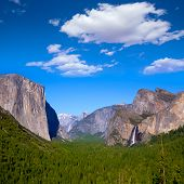 stock photo of granite dome  - Yosemite el Capitan and Half Dome in California National Parks US - JPG