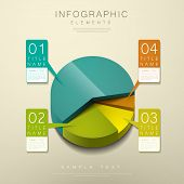 foto of pie  - realistic vector abstract 3d pie chart infographic elements - JPG