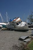 foto of katrina  - boats washed ashore during the flooding of hurricane katrina in new orleans - JPG