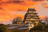 image of yellow castle  - Ancient Samurai Castle of Himeji with Dramatic Sky during Sunset - JPG