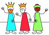 stock photo of epiphany  - Stick figures of the three wise men - JPG
