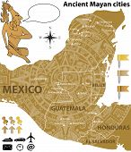 stock photo of mayan  - Vector map of the largest Mayan cities with ancient calendar - JPG