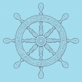 pic of rudder  - Detailed grey outlines nautical rudder isolated on blue background - JPG
