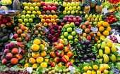 picture of stall  - Fresh fruit at a market stall in Barcelona - JPG