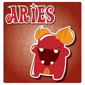 Zodiac sign Aries with cute colorful monster, vector