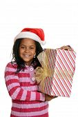 Happy jamaican child with christmas present