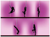 stock photo of lap dancing  - Vector eps 8 of 5 pole dancers silhouettes with sexy poses - JPG