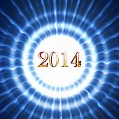 New Year 2014 In Blue Circles With Rays
