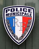 Municipal police sign in Lyon, France