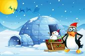 stock photo of igloo  - Illustration of a penguin and the sleigh with a snowman near the igloo - JPG
