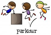 image of parkour  - Illustration of the stickmen playing parkour on a white background - JPG